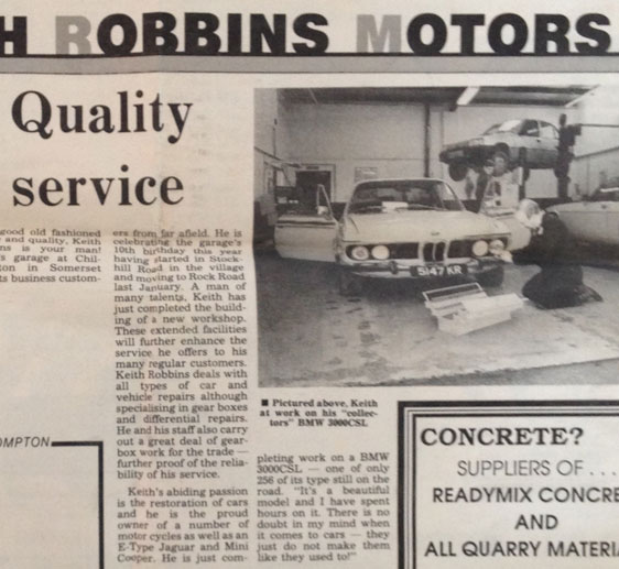 The KR Motors garage and MOT testing centre opened at Chilcompton in 1990